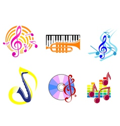 musical symbols emblems vector image vector image