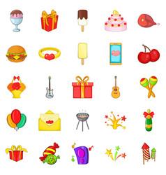 Natal day icons set cartoon style vector