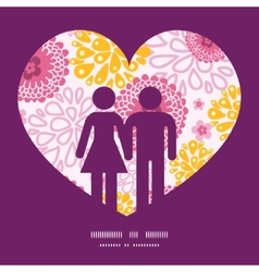 pink field flowers couple in love silhouettes vector image vector image