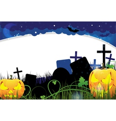 Pumpkin monsters on a cemetery vector