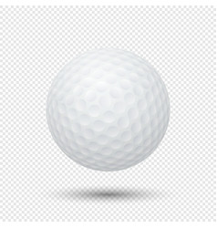 Realistic flying golf ball closeup isolated vector