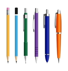 Set of pens and pensils vector image