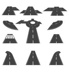 Set of sections of road and the roundabout vector