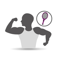 Strong man silhouette and racket tennis vector