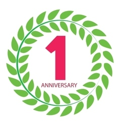 Template logo 1 anniversary in laurel wreath vector