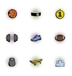 Training icons set pop-art style vector
