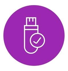 USB flash drive line icon vector image