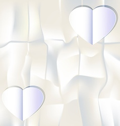 White paper heart on white paper background vector image