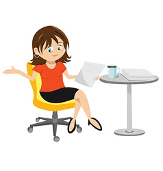 woman brunette sitting vector image