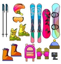 Ski and snowboard color equipment line icon vector image