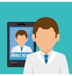 Mobile health technology icon vector