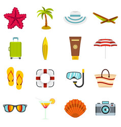 Summer rest set flat icons vector