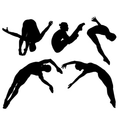 Springboard platform diving silhouette vector