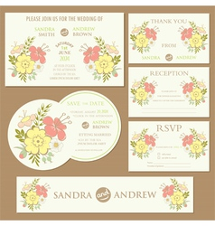 Spring wedding invitation cards set vector