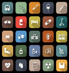 Hospital flat icons with long shadow vector image