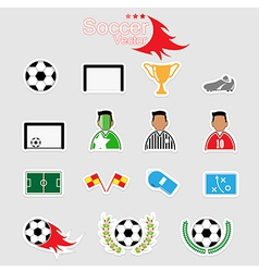 Soccer icons set color eps10 vector