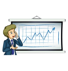 A businessman in front of the board with a chart vector