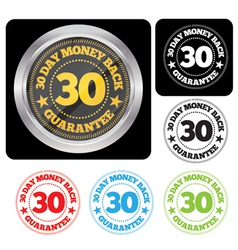 30 Day Money Back Guarantee Seal Set vector image vector image