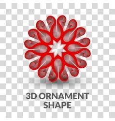 3d ornament shape on transparent grid background vector