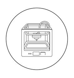 3d printer in outline style isolated on white vector