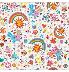 Rainbows bunnies birds pattern vector