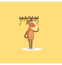 Reindeer with garlands on the horns vector