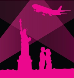 Statue of liberty in new york with couple vector