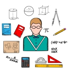 Mathematician teacher with education icons vector