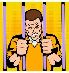 Prisoner at the jail vector