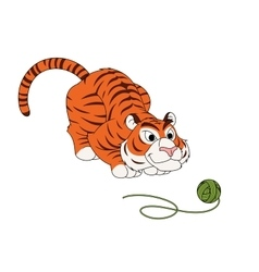 Tiger play with ball of thread vector