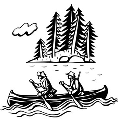 Two persons in the boat vector