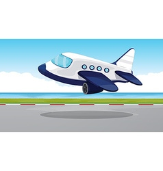 Airplane flying out of the runway vector