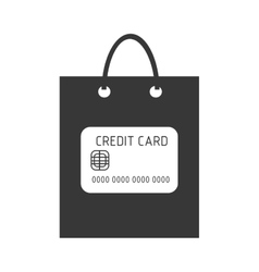 black shopping bag with commerce icon vector image