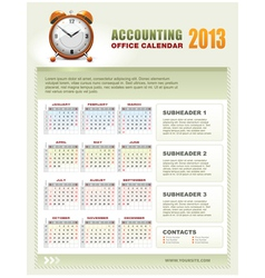 accounting corporate calendar 2013 vector image