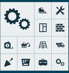 Architecture icons set collection of glass frame vector