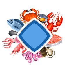 background with various seafood of vector image vector image