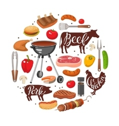 BBQ Essentials Round Composition vector image vector image
