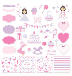 Birthday and girl baby shower design elements set vector