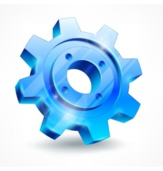 Blue gear on white vector image vector image