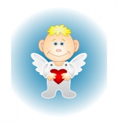 boy angel with red heart vector image vector image
