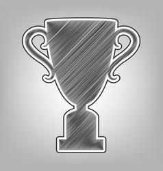 Champions cup sign pencil sketch vector