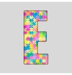 Color piece puzzle jigsaw letter - e vector