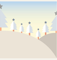 Design christmas tree on mountain with snow vector
