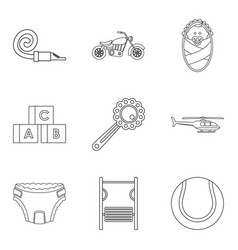 Distract child icons set outline style vector