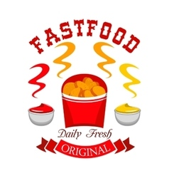 Fast food chicken nuggets emblem vector