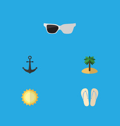 Flat icon beach set of ship hook spectacles vector