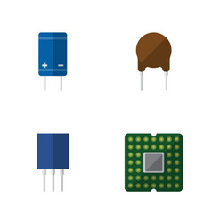 Flat icon device set of triode unit transistor vector