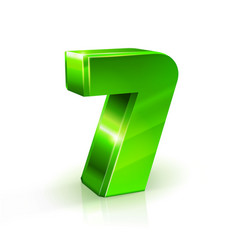 Glossy green seven 7 number 3d on vector