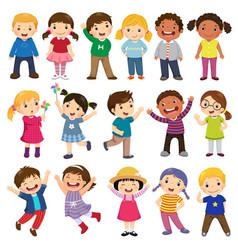 Happy kids cartoon collection vector
