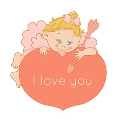 I love you card Valentines Day with Cupid vector image vector image